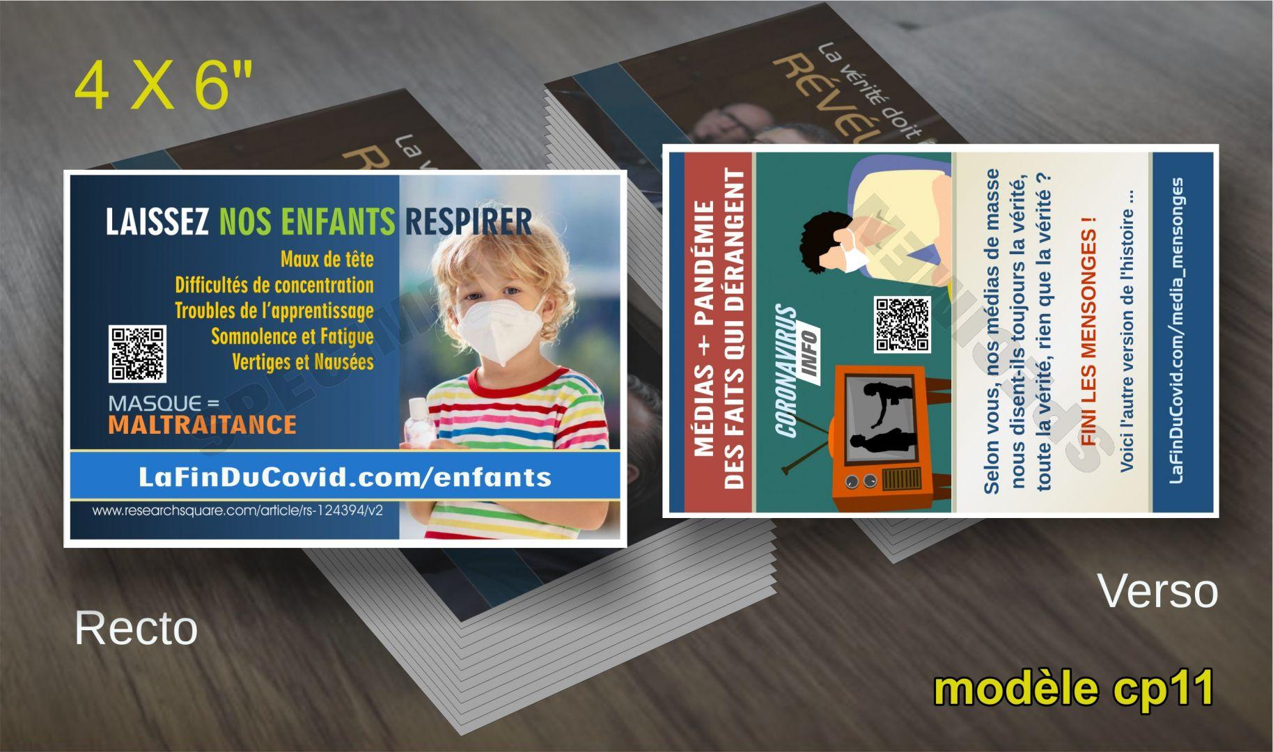 Cartes Postales (4x6) - (Maltraitance enfants - media menteurs)