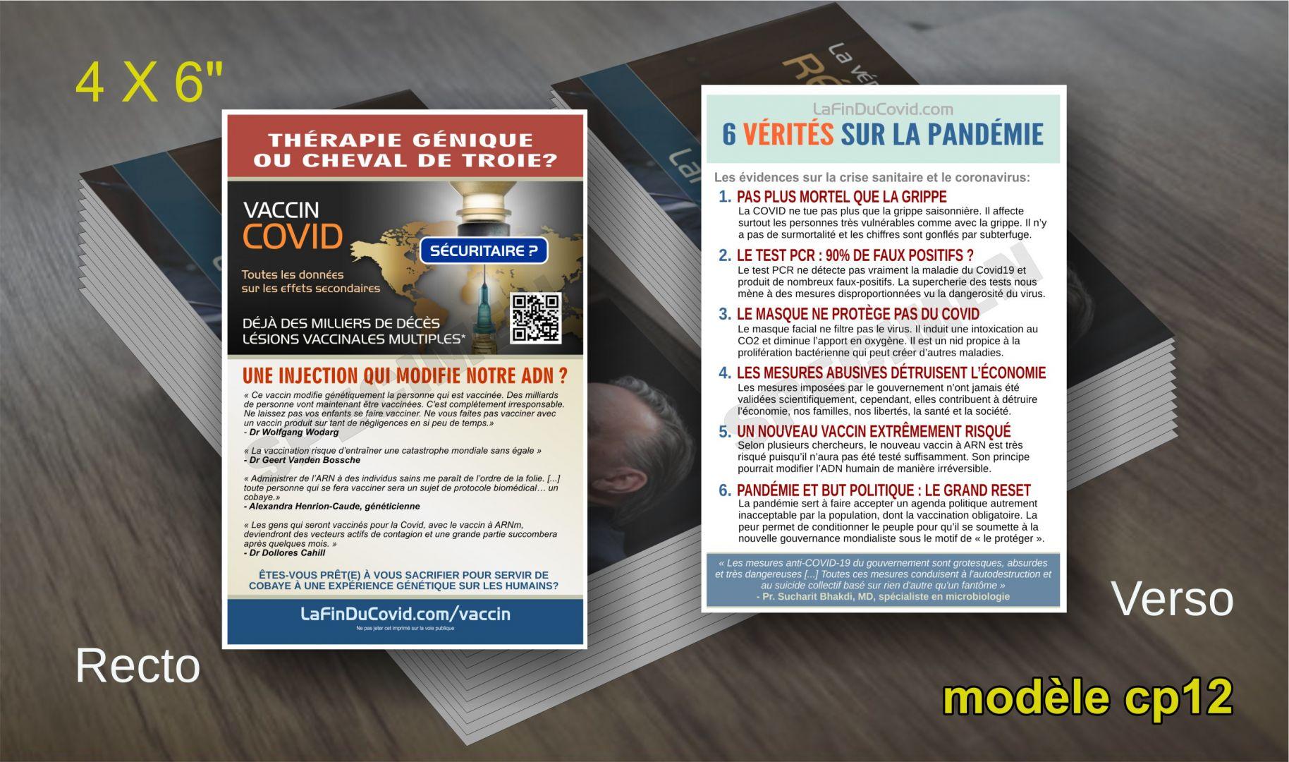 Cartes Postales (4x6) - (Dangers vaccin ARN - 6 vérités pandémie)