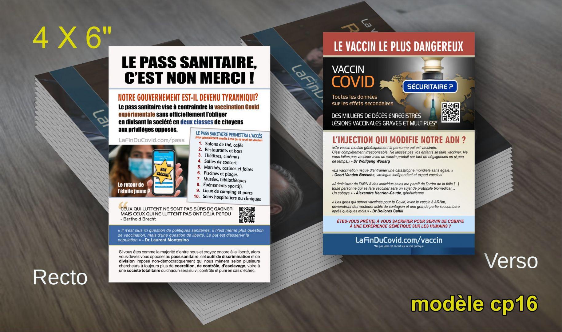 Cartes Postales (4x6) - (Pass sanitaire non merci - Dangers vaccin ARNm)