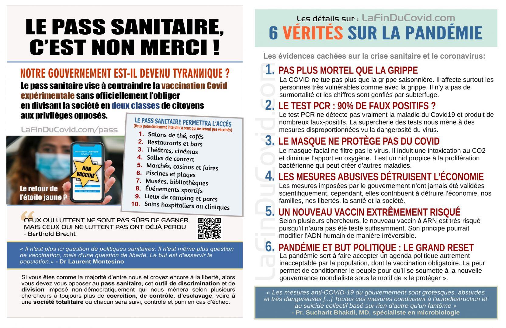 Flyer  (à imprimer) - Pass sanitaire NON MERCI + 6 vérités sur la pandémie - PDF15