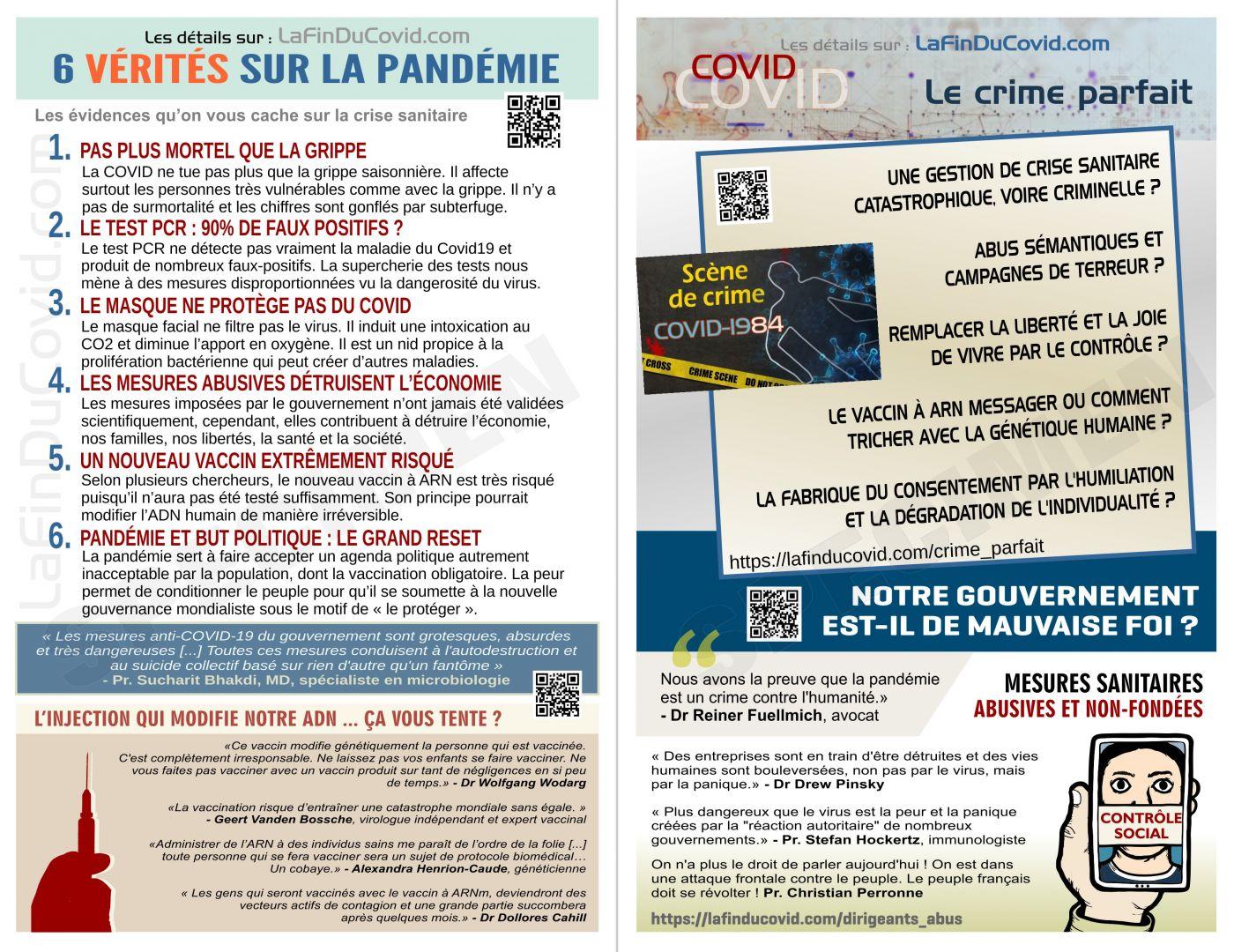 Flyer 6 vérités pandémie + vaccin ARN + crime parfait + gouvernement tyran (5.5 x 8.5po.)