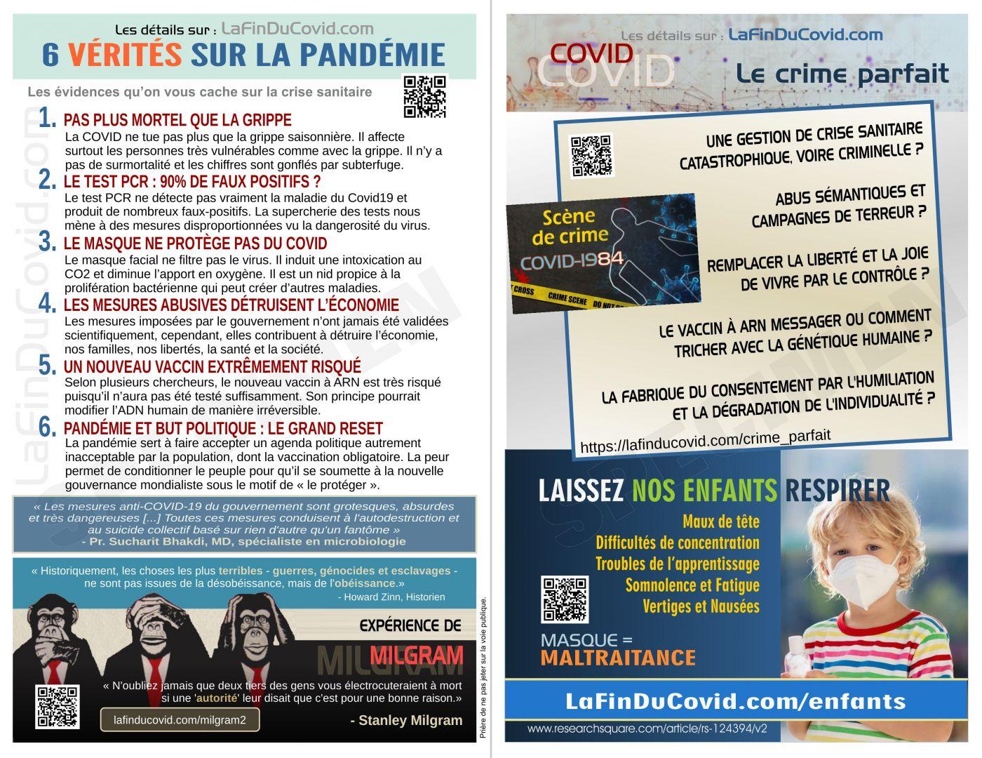 Flyer 6 vérités pandémie + vaccin ARN + crime parfait + masque enfants (5.5 x 8.5po.)