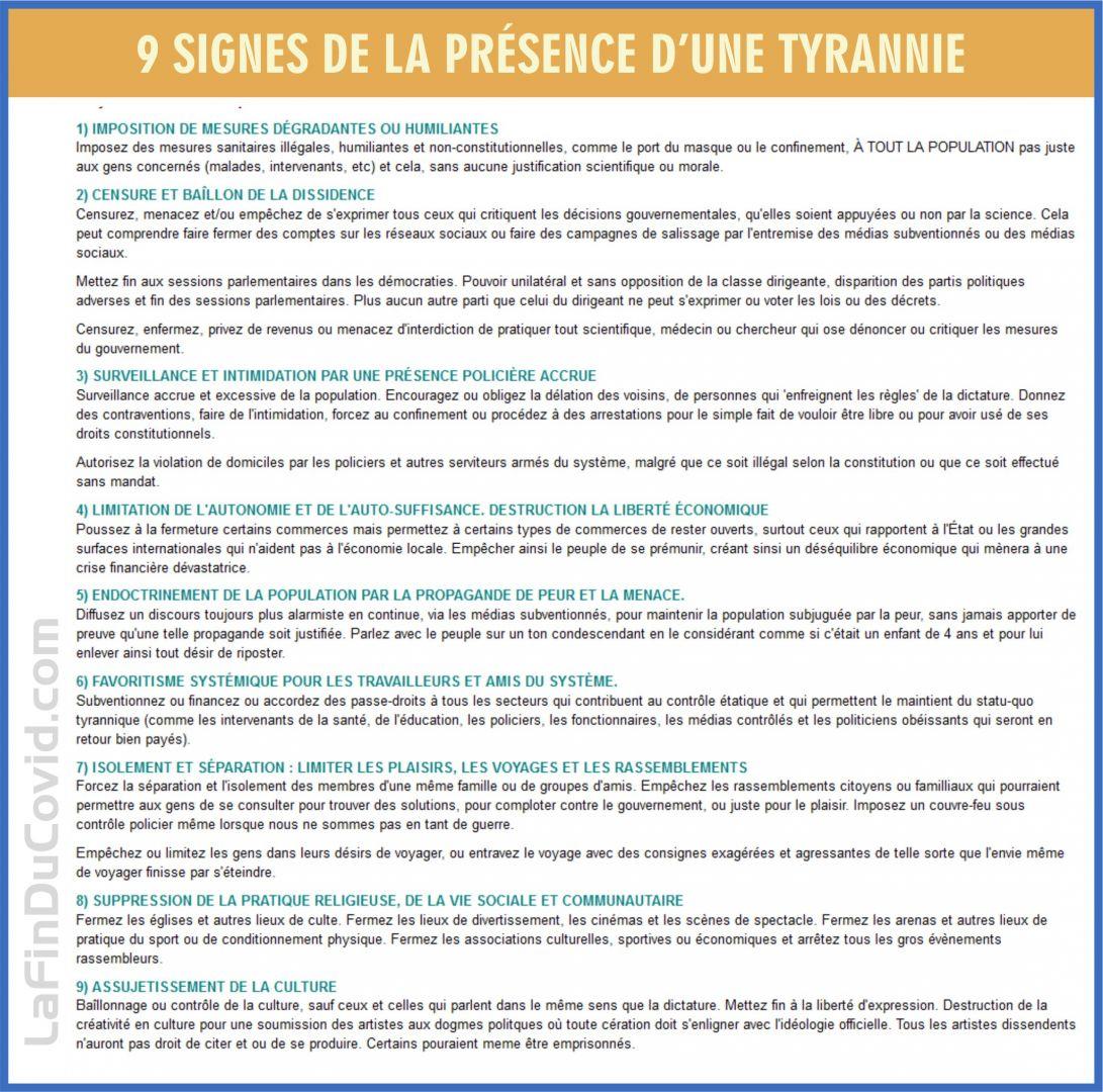 9 signes que nous sommes en présence d'une tyrannie