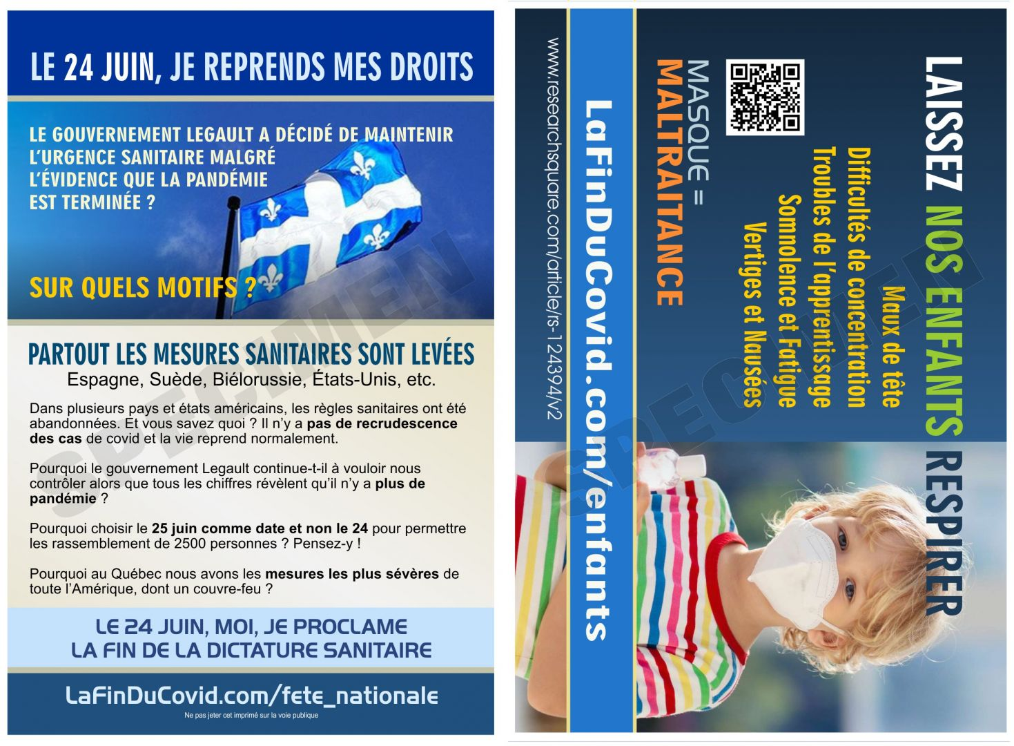 Cartes Postales (4x6) - (24 juin - Masque enfants)