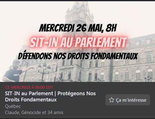 26 mai / Sit-in En face du parlement de Québec